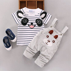 Ishowmall 2pcs Newborn Kids Baby Boy Girls T-Shirt Tops+pants Overalls Outfits Clothes Set Grey By Ishowmall.