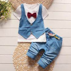 Ishowmall Newborn Baby Boy Clothes Short Sleeve Cotton T-Shirt Tops+pants By Ishowmall.