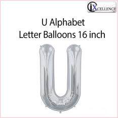 [ix] Alphabet U Letter Balloon 16 Inch (silver) By Ixcellence.