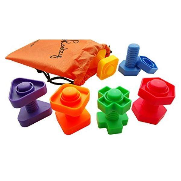 Jumbo Nuts and Bolts Set with Tote 12 Pc by Skoolzy - Occupational Therapy - Matching Fine Motor Toy for Toddlers Preschoolers - Free Activity Download - intl