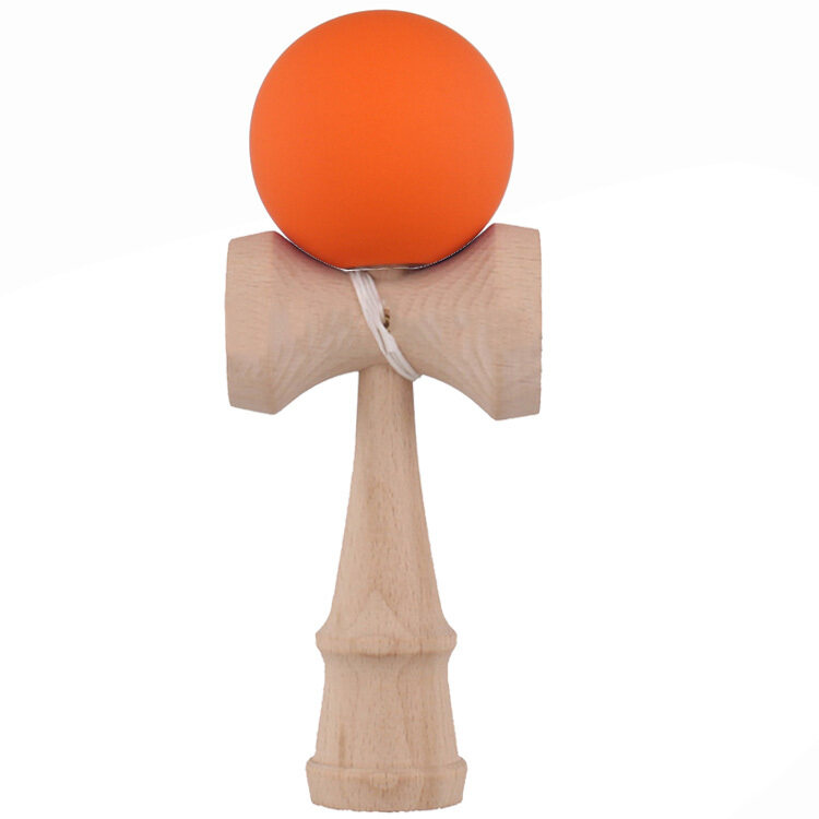 Hình ảnh Kendama Japanese Traditional Game Skillful Wooden Toy Rubber Paint Ball (Orange) - intl