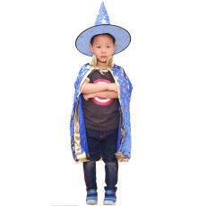 Anak Anak Laki-laki Kostum Halloween Perempuan Tukang Sihir Penyihir Jubah Mantel dengan Topi Halloween