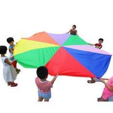 Hình ảnh Kid Development Rainbow Umbrella Parachute Toy Jump-sack Ballute Play 3M