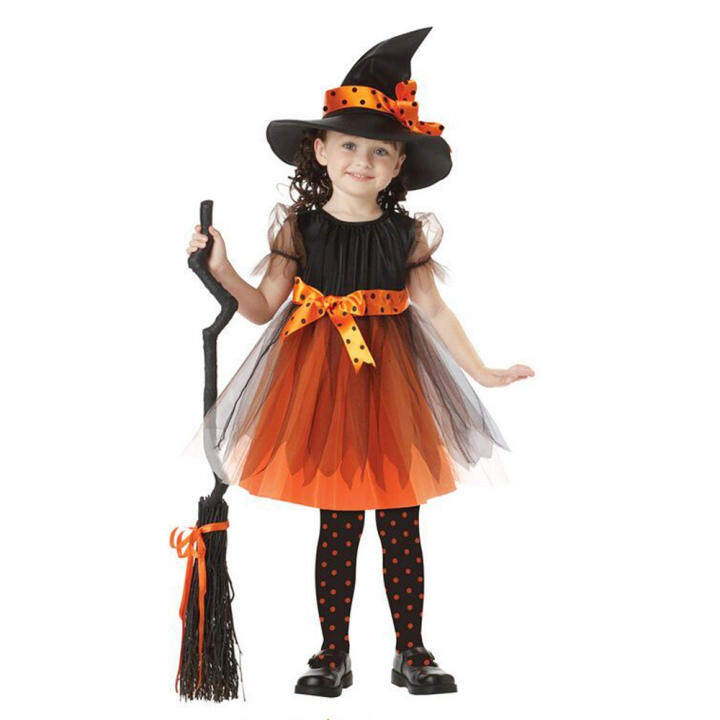 Kid Girls Halloween Costumes Witch Wizard Dress with Hat Halloween Role Play Cosplay Party Dress-up Supplies Yellow 120cm