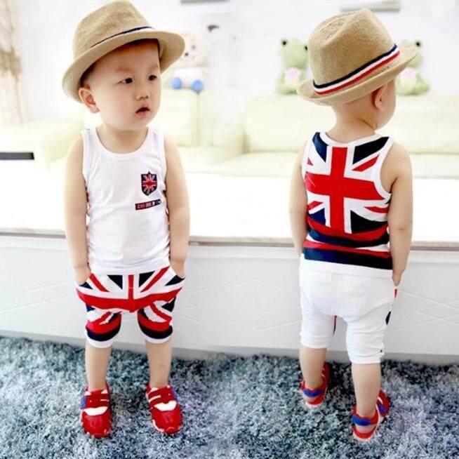 138a2ea9c2e Product details of Kids Baby Boys Union Jack Outfits Vest Tops Pants Set  Clothes 85 - intl