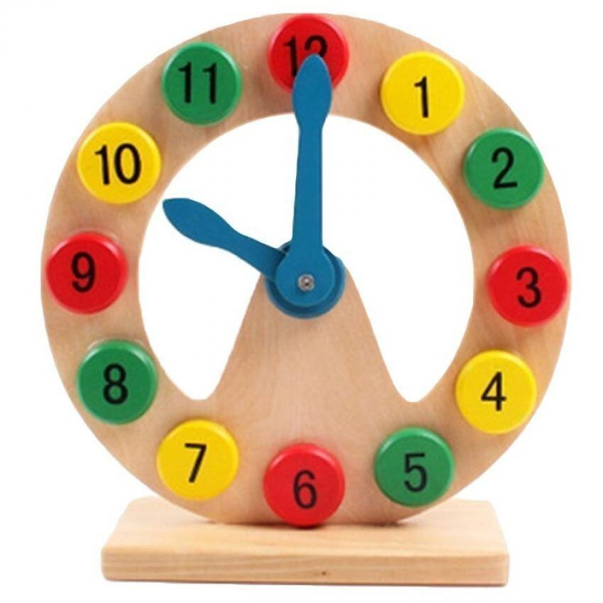 Kid's Baby's Educational Wooden Clock Toy