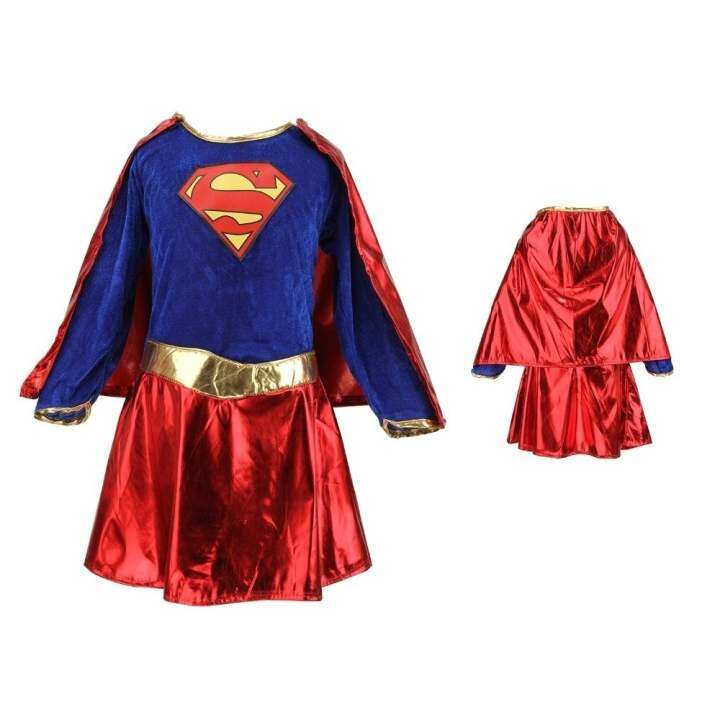 Kids Child Girls Costume Fancy Dress Superhero Supergirl Comic Book Party Outfit