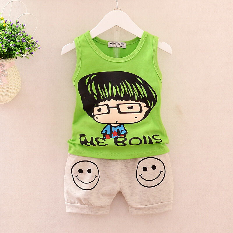 Kids Clothes Baby Boys Summer Clothes Children Clothing Sets Sleeveless Tops + Pants Sport Set Toddler