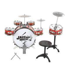 Kids Drums Kit Musical Instrument Toy with Cymbals Stool Christmas Birthday Gift (Red)