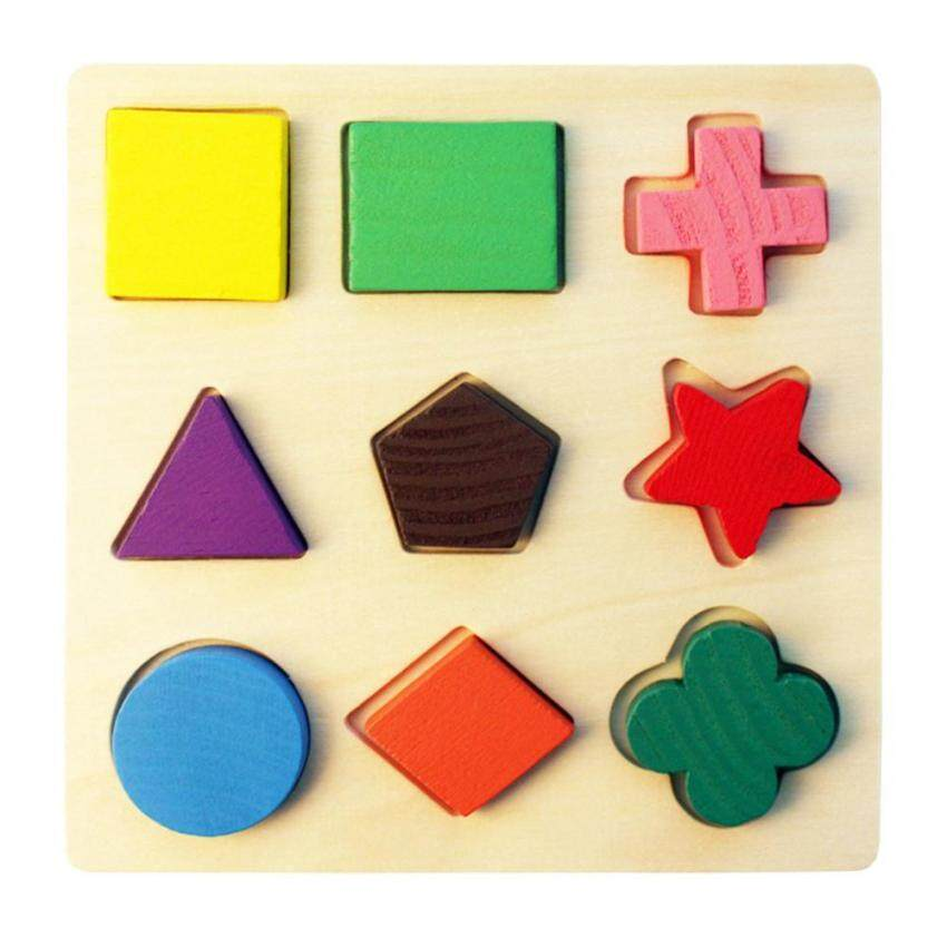 [FREE SHIPPING]Kids Educational Puzzle, Wooden Preschool Geometric Shape Puzzle Toys For Kids / Toddlers Learing Math Shapes Color Recognition Toy - V3