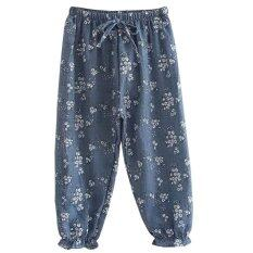 DomybestShop Kids Girls Cotton and Linen Pants Trousers Flower Print  Bloomers 4e38cf0ec