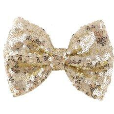 Kids Girls Sequins Bow Hair Clips Light Gold