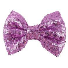 Kids Girls Sequins Bow Hair Clips Purple