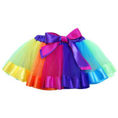 4bcfc74e879 Kids Girls Sweet Rainbow Tutu Ballet Dance Skirts Costume Dress for  Birthday Party School Play Christmas Pageant Size M