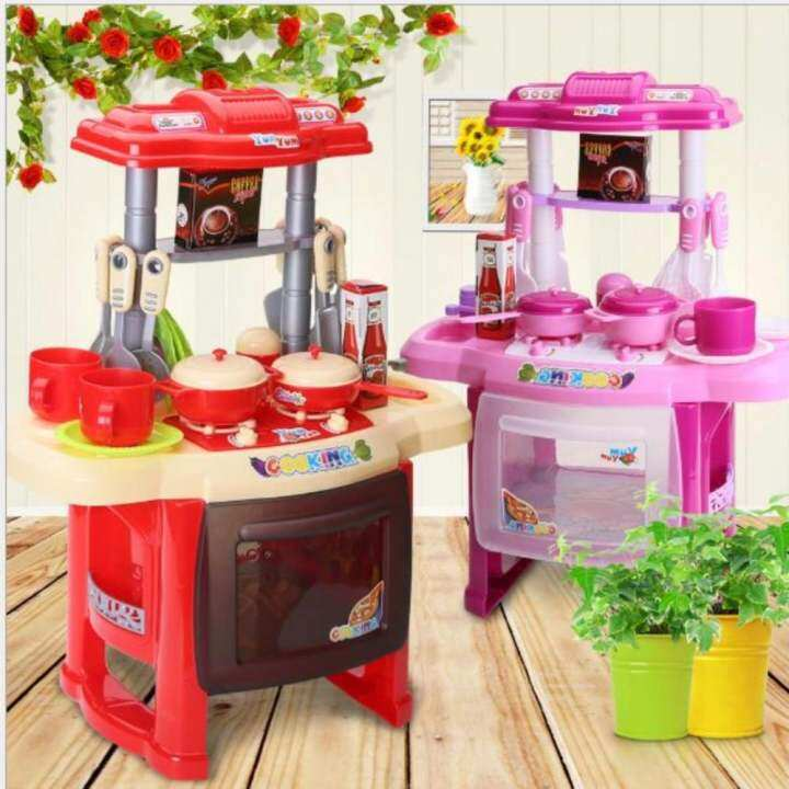 Kitchen Set Lazada: Kids Kitchen Cooking Pretend Role Toy Play Set Lights
