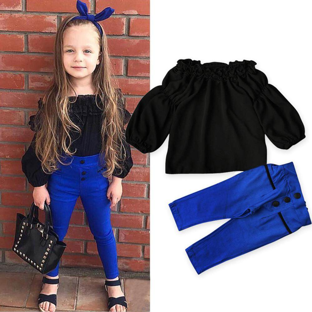 a7be55132e8 Kids Toddler Baby Girls Off Shoulder Tops Pants 2Pcs Set Suit Outfits  Clothes - intl
