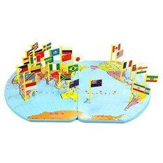 Buy at best price in malaysia lazada kidss wooden world map flag matching puzzle geography educational toy gumiabroncs Gallery