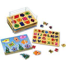 Kleeger Premium Baby Peg Puzzle 6-In-1 Set - 6 Different Themed Educational