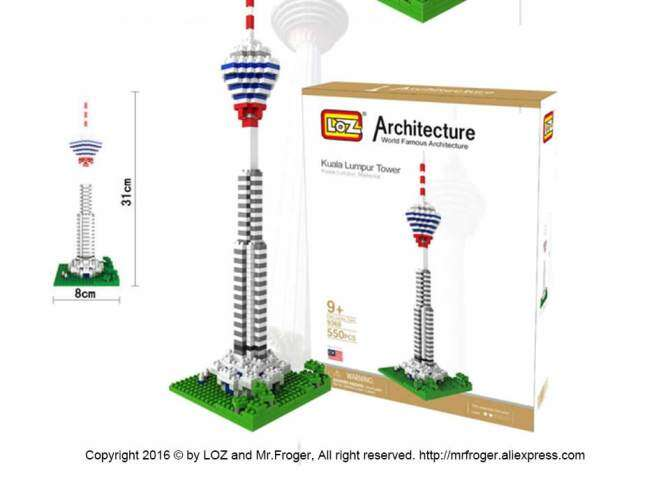 Kuala Lumpur Tower Diamond Block World Famous Architecture Series City Building Blocks Classic Toys Model House - intl