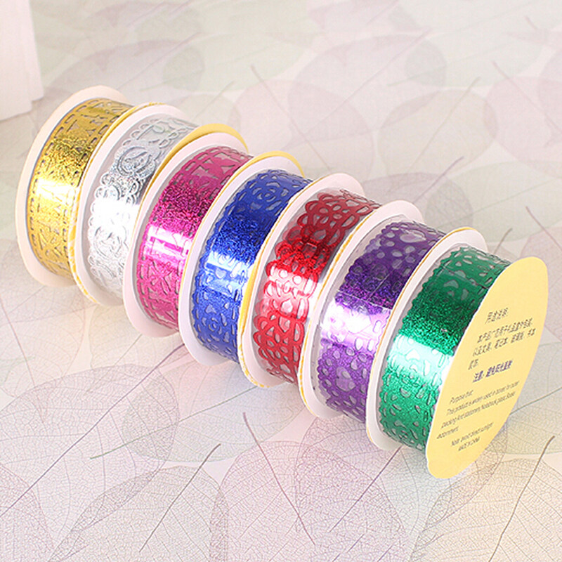 Hình ảnh Lace Roll DIY Washi Decorative Sticky Ribbon Masking Tape Self Adhesive Purple - intl