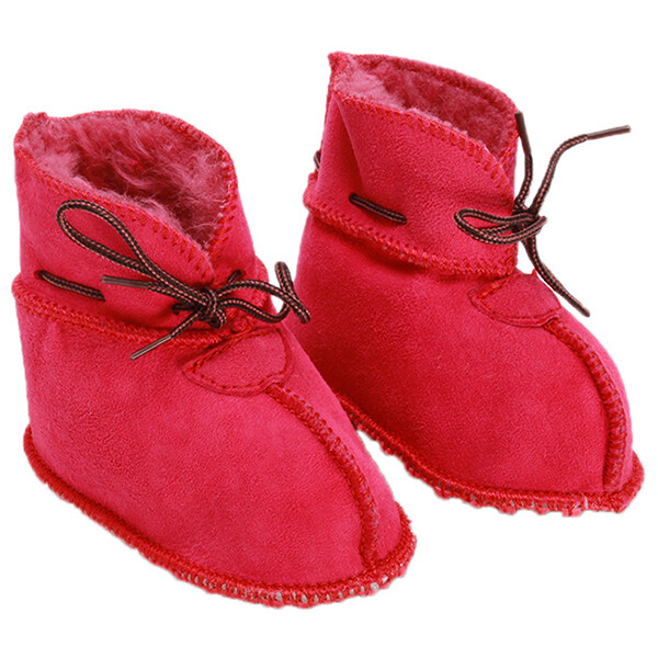 Lalang 1 Pair Baby High Boots Infant Sheepskin Shoes Rose Red - Intl By Mode Shop.