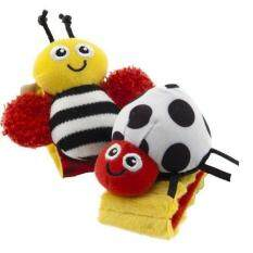 LALANG 1 Pair New Baby Infant Wrist Rattles Bees Ladybird