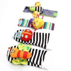 LALANG 4 Pcs New Baby Infant Foot Socks Rattles Wrist Rattles Black&White