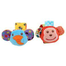 LALANG Baby Rattles Wrist Suit Monkey Elephant With Ring Paper Rattles Toys (Multicolor)