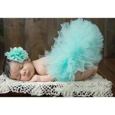 Lalang Newborn Baby Tutu Skirt Flower Headband Photography Props Ball Gown (lake Green) By Mode Shop.