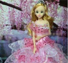 Lan Lan 1 Pcs Pink Cerah Mewah Handmade Bahu Miring Gaya Putih Renda Renda Pesta Malam Gaun Rok untuk Barbie Pakaian Boneka Sepatu Rumah Boneka bermain Aksesoris (Titik-titik Warna Pola)