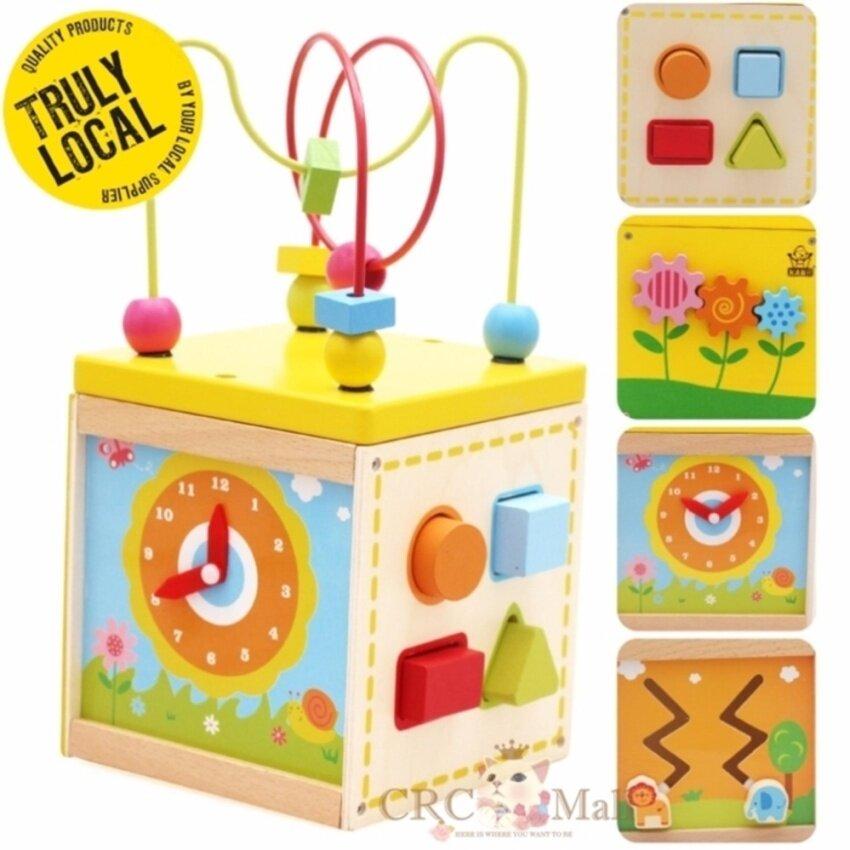 LARGE SIZE 20CM 5 sided Montessori Bead Maze + Clock + Shapes + Beads Maze Wooden Educational Toys
