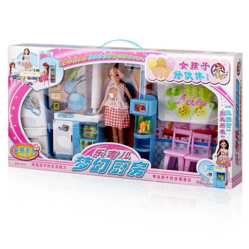 Lelia H21A Kualitas Barang Barbie Doll Dream Setelan Dapur Kotak Hadiah  Rumah-rumahan Hadiah Ulang fc133a5a5e