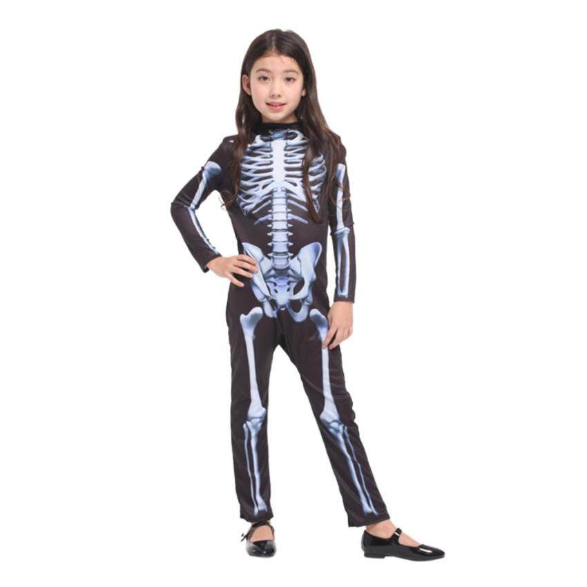 TTW Skull Skeleton Costume Halloween Role Playing Cosplay Clothesjumpsuits For Boys And Girls -S (