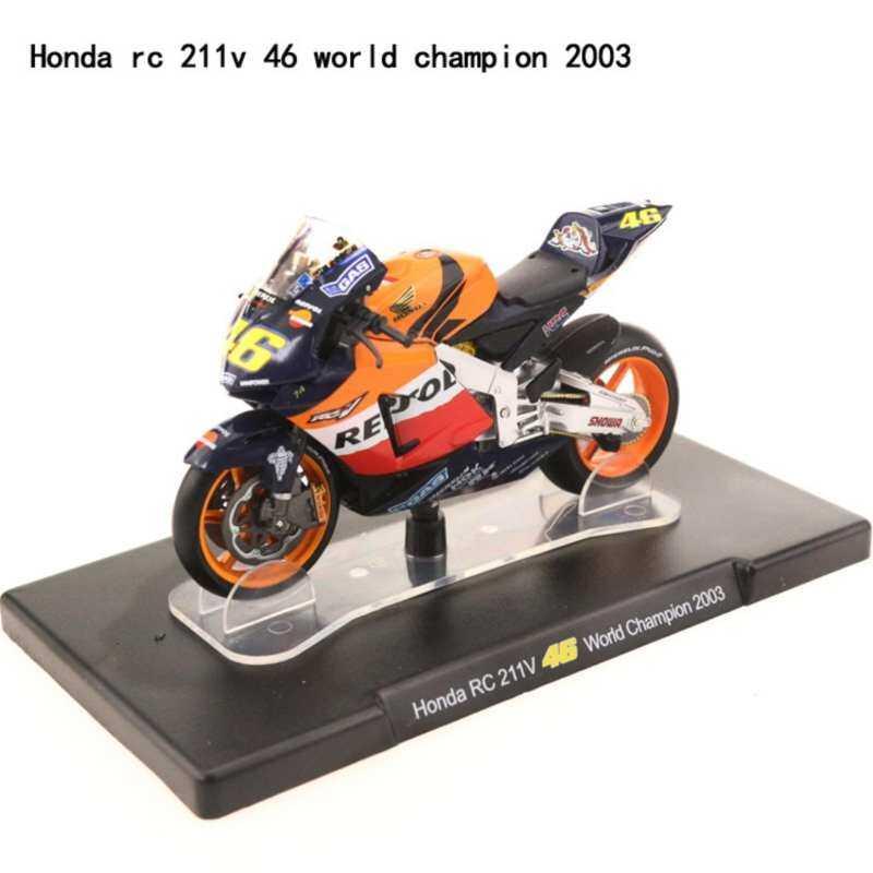 Kmdshxns Leo MotoGP 1:18 Honda RC 211 V 46 2003 Model Motor Juara Dunia