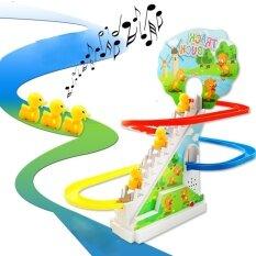 Hình ảnh Little Yellow Duck Electric Light Music Amusement Electric Climb Stairs Track Toy