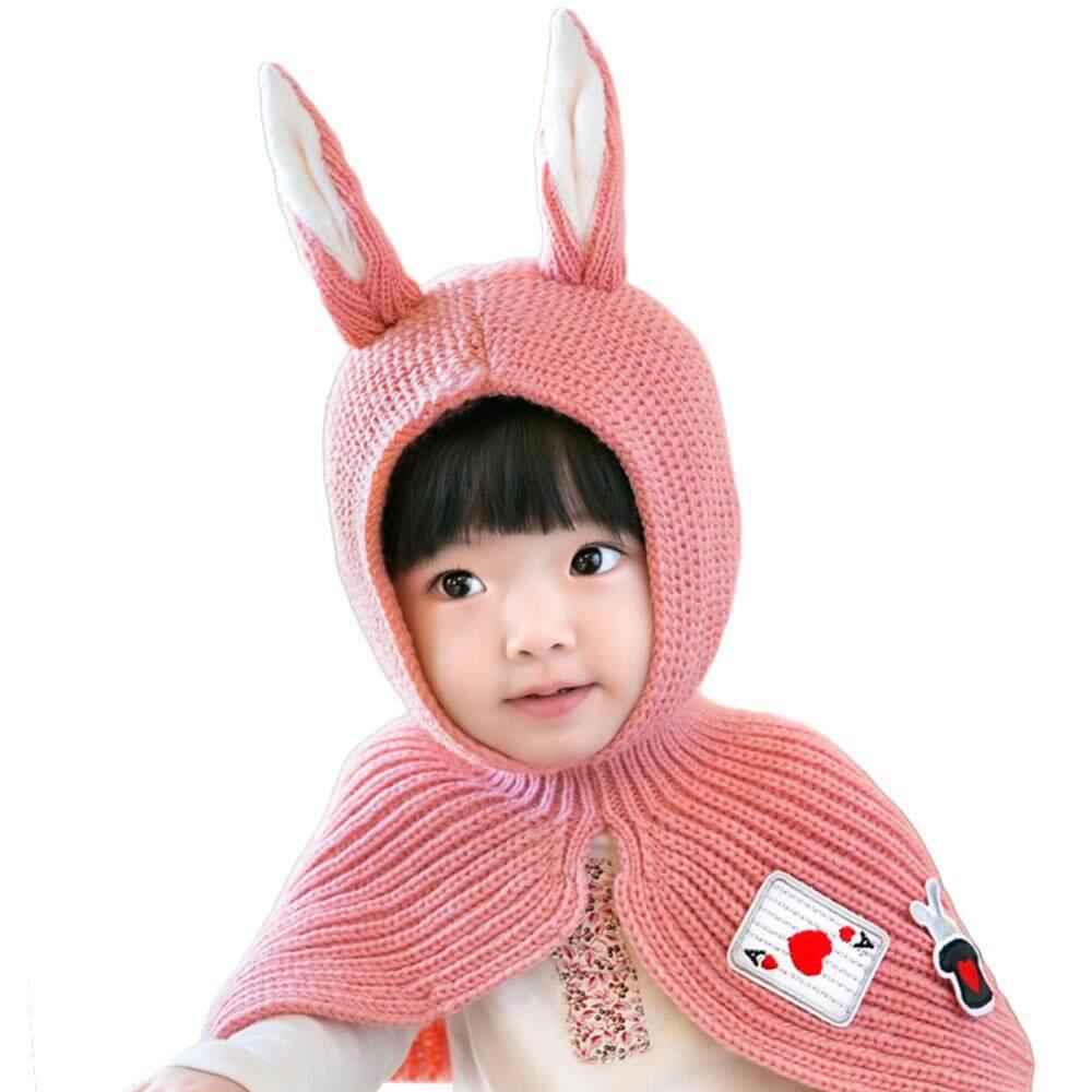 การเปรียบเทียบราคา Lovely Children Baby Shawl Hat Wool Hat Rabbit Ears Kids  Accessory Warm ซื้อ b9d3e8490f04