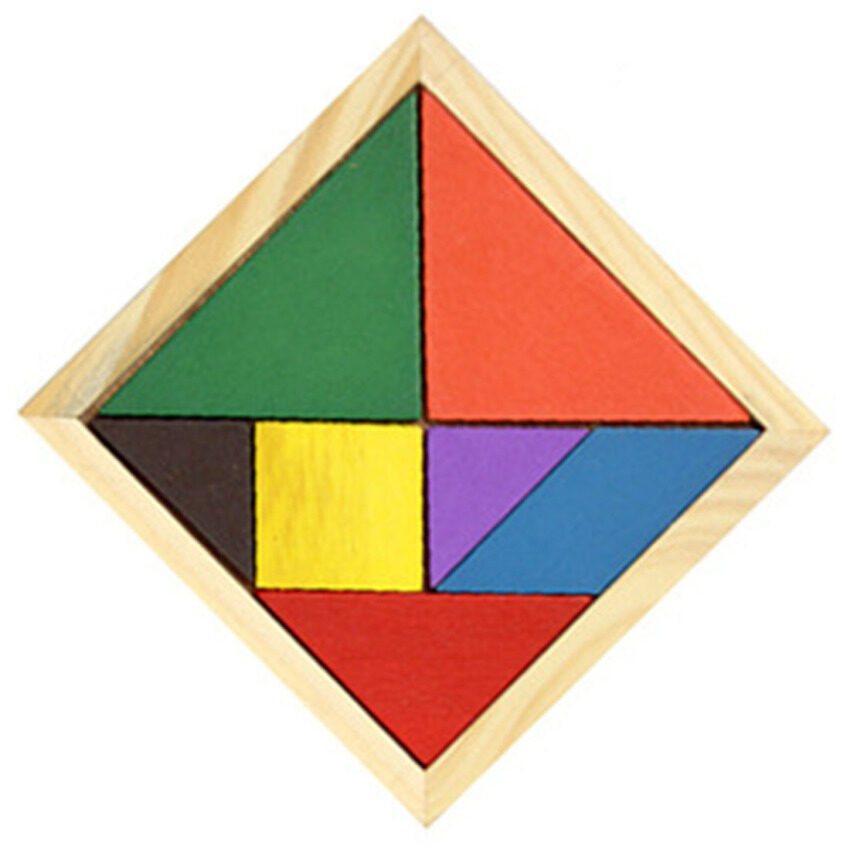LT365 Wooden Tangram 7 Piece Puzzle Colorful Square IQ Game Brain Teaser Intelligent Educational Toy for Kids Children