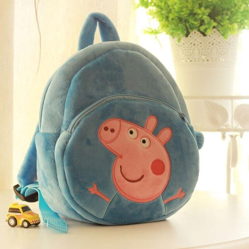 Ld Ready Stock Baby Accessories Decorations Soft Lovely Plu 3D Peppa Pig George Round Backpack For Boy Girl Kids