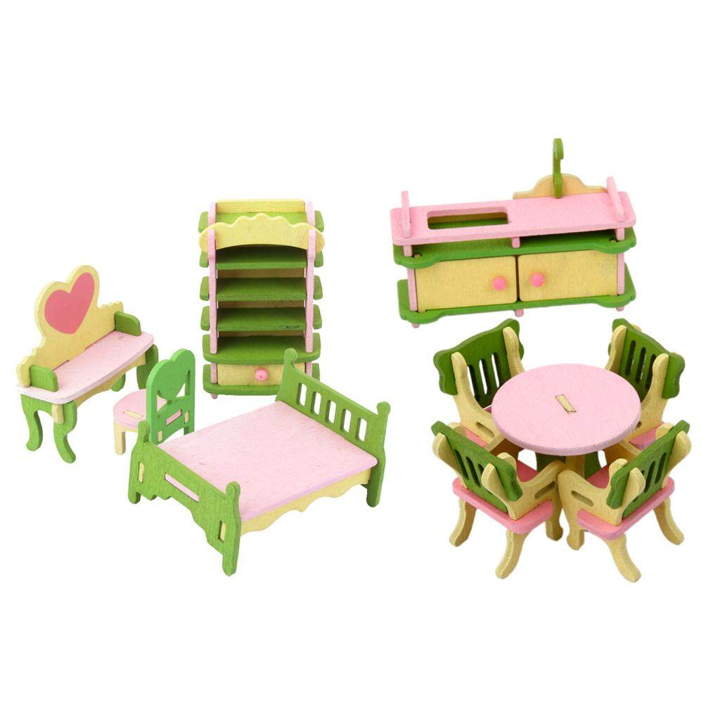 MagiDeal 10 Pieces Set 1/12 Dollhouse Miniature Wooden Furniture Bed Table Chair Cupboard Bedroom Dining Rooms Items - intl