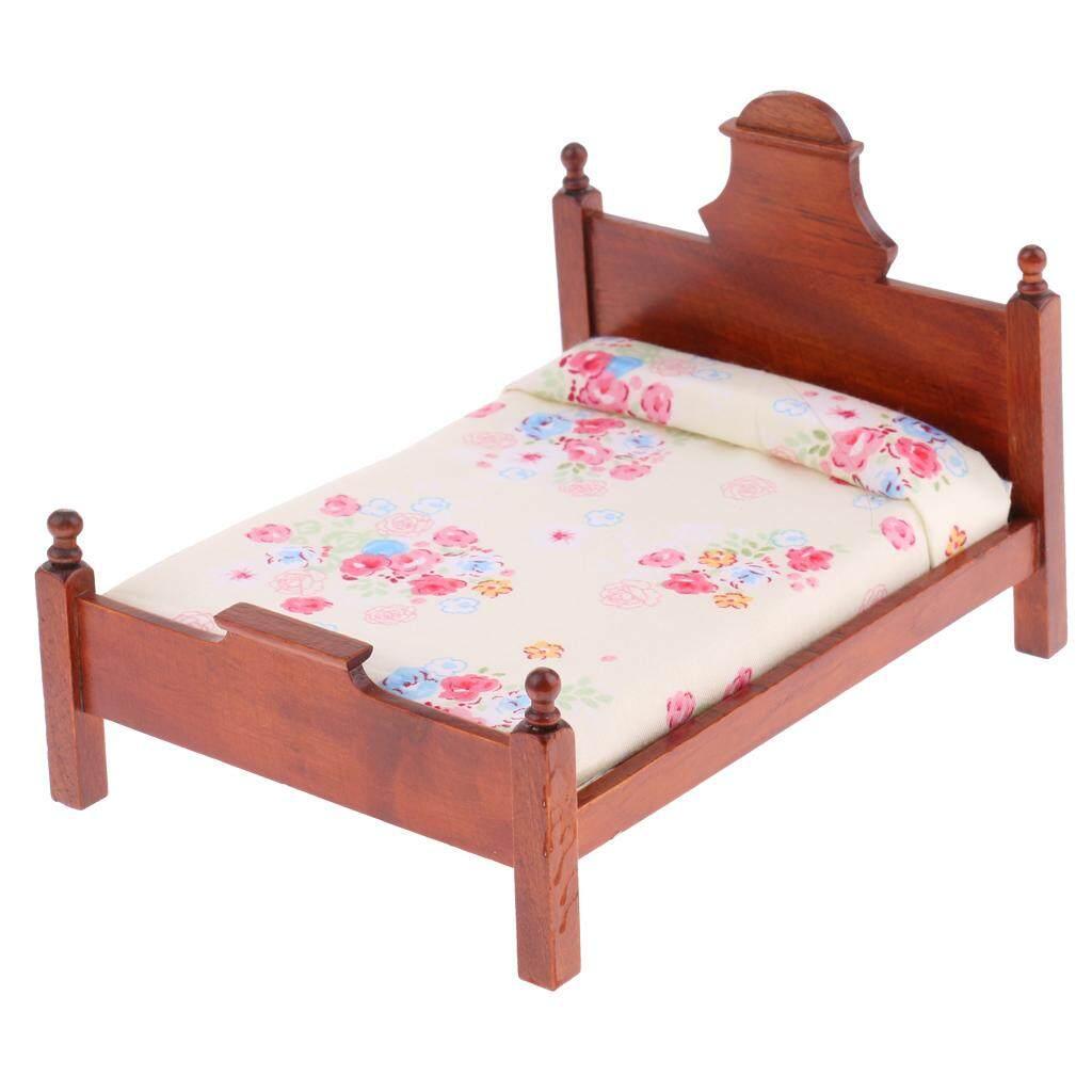 Magideal 1/12 Rumah Boneka Miniatur Bedroom Furniture Bunga Ganda Tempat Tidur-Internasional