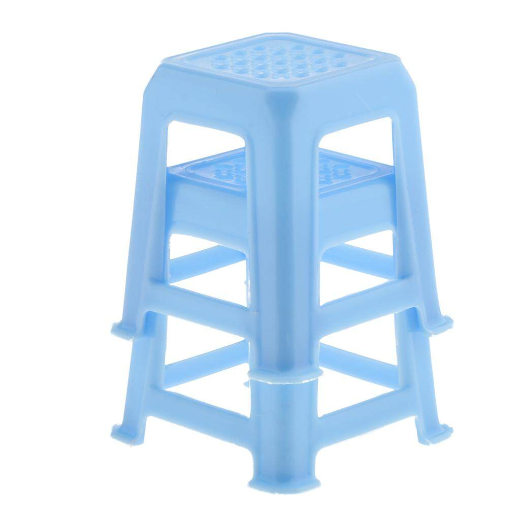Magideal 1/12 Rumah Boneka Miniatur Furniture 2 Pcs Biru Plastik Stool Kursi MODEL-Internasional