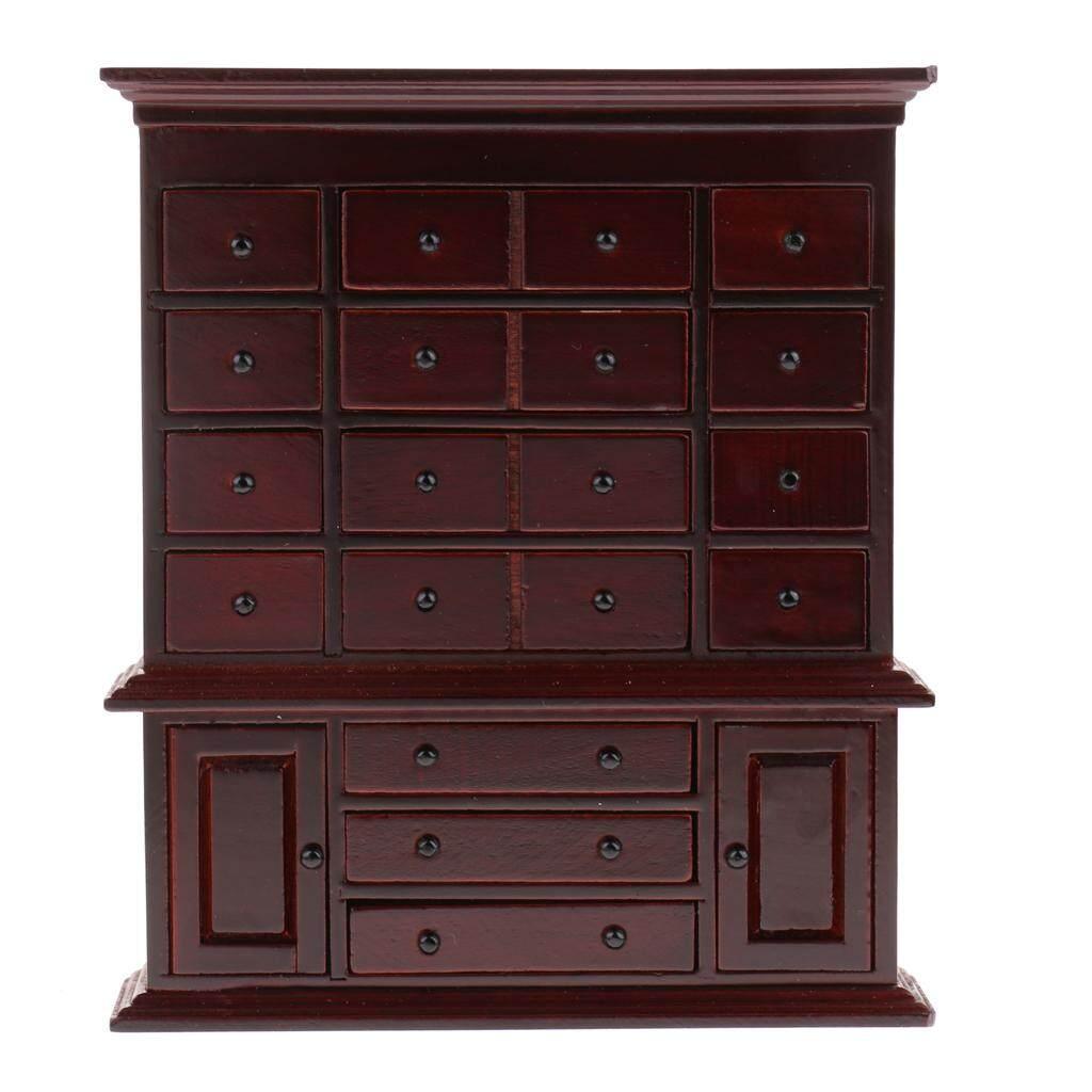 Magideal 1/12 Rumah Boneka Miniatur Furniture Antik Medicine Cabinet-Internasional
