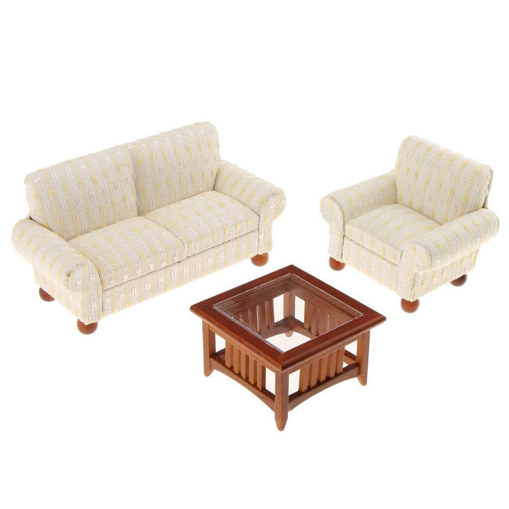 Magideal 1/12 Skala Miniatur Rumah Boneka Furniture Kursi Ruang Keluarga Sofa Set Meja Beige-Intl