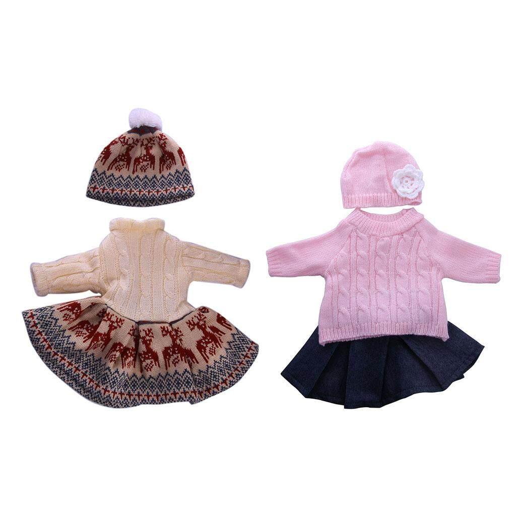 Magideal 2 Sets Sweater Gaun Lipit Rok Gaun Topi Pakaian untuk 18 ''Amerika Perempuan Doll Pakaian Generasi Doll Kami jeans Rok Kostum-Internasional