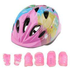 Magideal 7 Pieces Kid Child Roller Skating Bike Helmet Knee Wrist Guard Elbow Pad Set Pink By Magideal.
