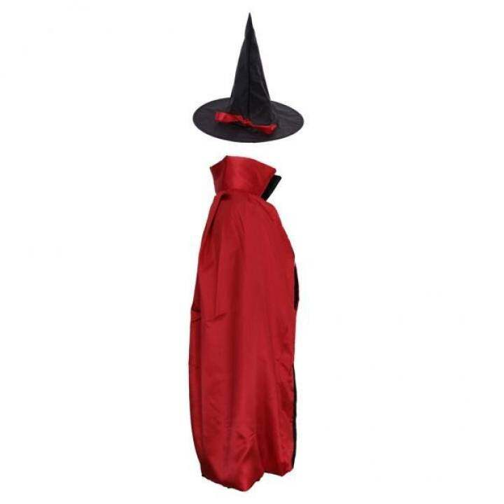 MagiDeal Adults Kids Satin Wizard Witch Cloak Cape Hat Halloween Costume 90 cm Red