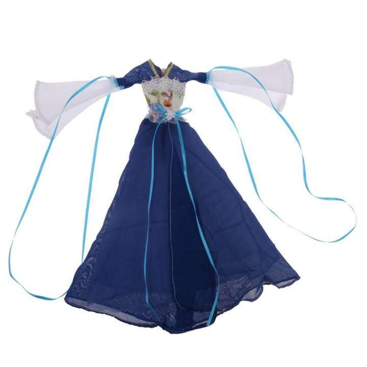 MagiDeal Chinese Ancient Costume Clothes Dress Outfit for Barbie Dolls Accessory Blue