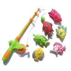 Four Season Big Sale Magnetic Fishing Toy Set Fun Time Fishing Game With 1 Fishing Rod and 6 Cute Fishes for Children Random Color