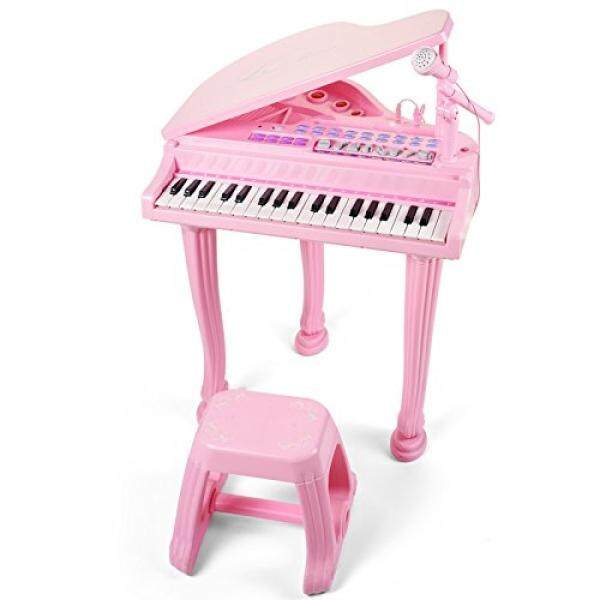 Mallya Musical Kids Electronic Keyboard Childs 37 key Toy Grand Beginner Baby Piano with Bench and Microphone Princess Pink - intl