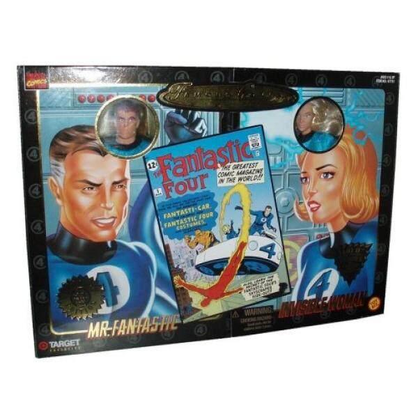 Marvel Komik Marvel 1998 Terkenal Menutupi Eksklusif 2 Pack Edisi 8 Inch Boneka Tokoh Tn. Fantastis dan Wanita Tak Terlihat Ultra Poseable gambar dengan Otentik Kain Kostum-Intl